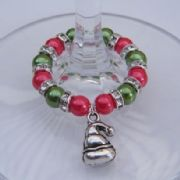 Santa Hat Wine Glass Charm - Full Sparkle Style